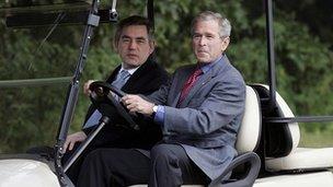 UK prime minister Gordon Brown with President Bush in 2007