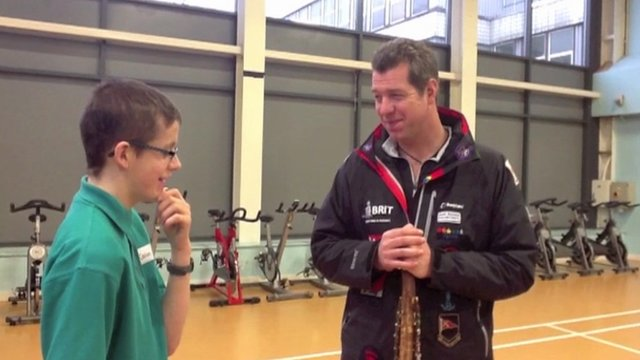Caolan of Sandleford School speaks to Phil Packer, who aims to raise £ 15 million to build a centre for young people