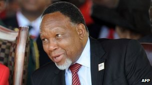 "South African deputy president Kgalema Motlanthe (R) attend a rally to celebrate BDP""s 50th anniversary on February 25, 2012 in Gaborone"