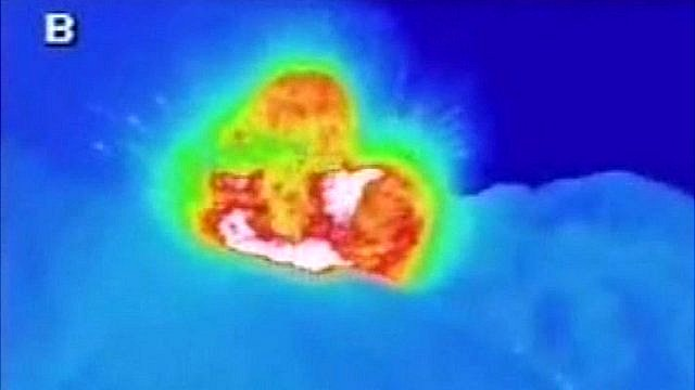 Thermal image of Sakurajima volcano erupting