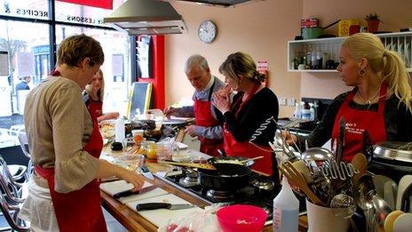 A group learning to cook at the Ministry of Food in Rotherham