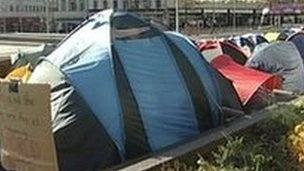 Nottingham&#039;s &#039;Occupy&#039; protest camp in Old Market Square