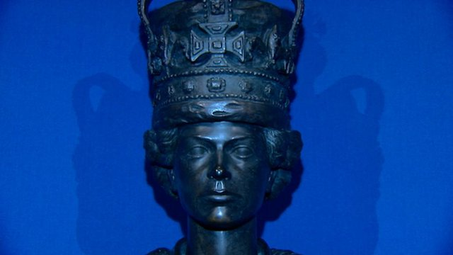 Close up of sculpture of present Queen as a young woman