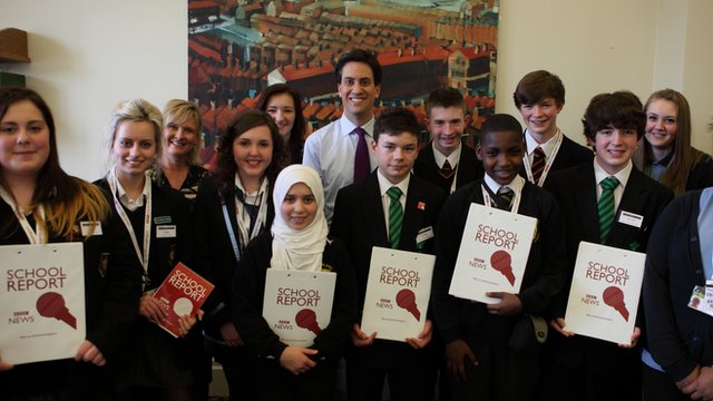 Ed Miliband poses for a picture with the School Report team