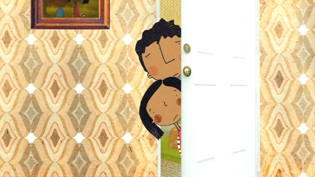 A cartoon living room scene. Two children peer from behind a door. They look upset.