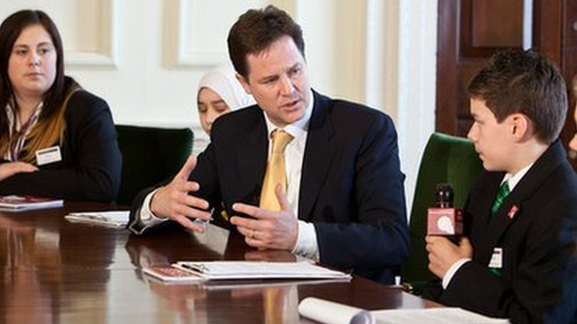 Deputy Prime Minister Nick Clegg is quizzed by the 12 School Reporters