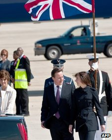 David Cameron entering a car at Andrews Air Force base in Washington, DC 13 March 2012
