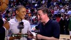 David Cameron and Barak Obama give an American network a joint TV interview at half time.