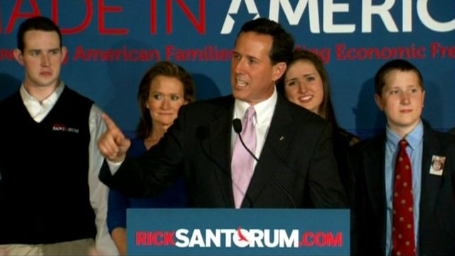 Rick Santorum addresses supporters.