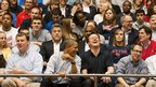 President Obama and David Cameron share a joke as they watch basketball at the University of Dayton Arena, Ohio
