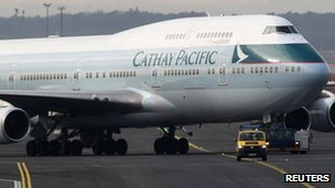A Cathay Pacific aircraft 