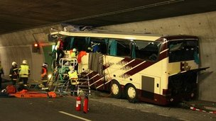 The bus appears to have travelled along the right hand wall of the tunnel and collided head-on with the concrete wall that provides emergency access, Sierre, Switzerland, 14 Mar 2012