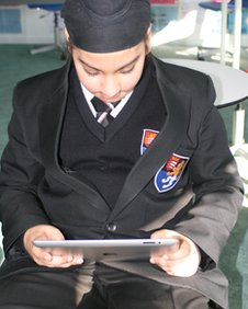 Lampton pupil using an iPad