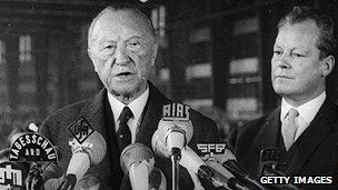 Konrad Adenauer with Willy Brandt