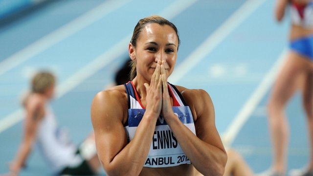 Jessica Ennis waits at the finish line for the results of the Women's Pentathalon