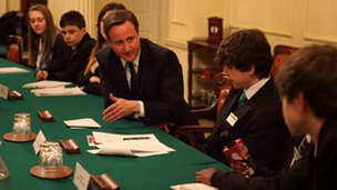 David Cameron answering the School Reporters questions