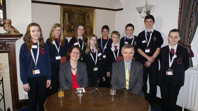 School Reporters at Anglesey with Plaid Cymru's Leader Wyn Jones