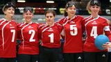 Jessica Luke, Anna Sharkey, Louise Simpson, Amy Otterwat and Georgina Bullen of Great Britain at the London International Goalball Tournament.