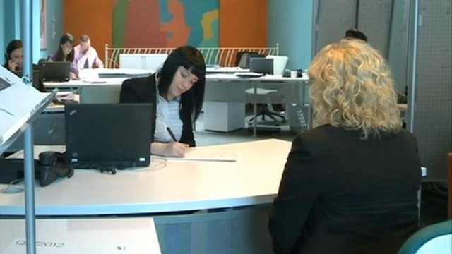 Woman in a recruitment centre