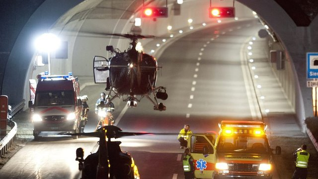Rescue helicopter at Swiss motorway tunnel near Sion