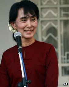 Aung San Suu Kyi at her lakeside residence Wednesday