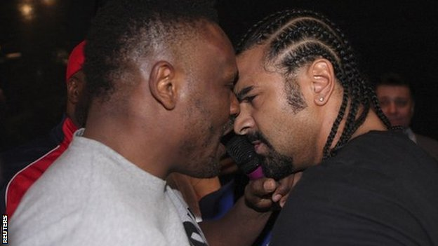 British boxers Dereck Chisora and David Haye