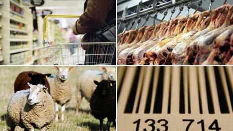 Shopping basket, meat in abattoir, sheep, barcode