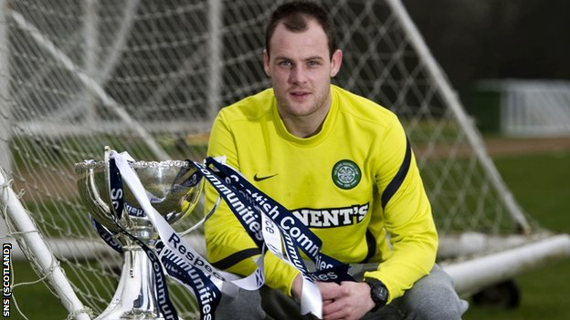 Celtic striker Anthony Stokes with the Scottish Communities League Cup