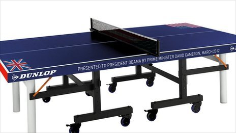Table tennis table given to the Obamas by the Camerons