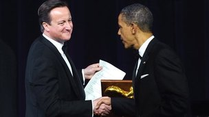 David Cameron and Barack Obama shake hands