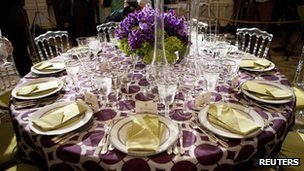A table setting for the State Dinner