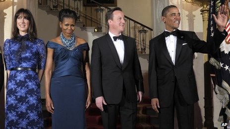 From left to right: Samantha Cameron, Michelle Obama, David Cameron and Barack Obama pose for a photo before the State Dinner