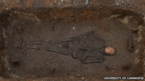 Composite image of Anglo-Saxon skeleton in bed burial