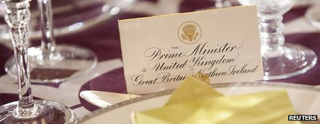 Place card for David Cameron