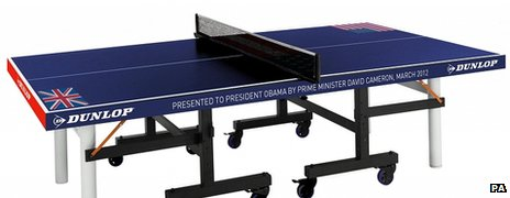 Table tennis table presented to President Obama