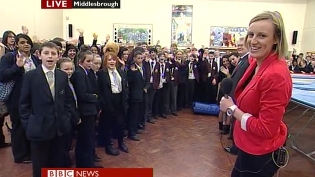 School Reporters waving goodbye to Sian Williams