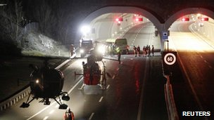 Emergency services at the Sierre tunnel