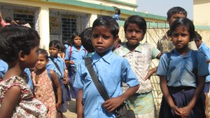 Children waiting outside school