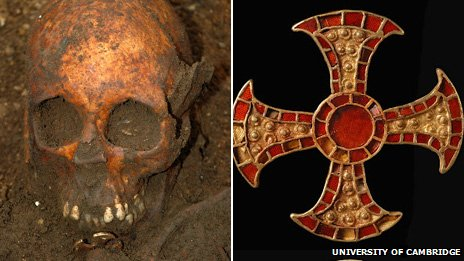 Skull of Anglo-Saxon girl and cross