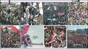 Screenshot of Syrian state TV showing pro-government rallies