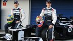 Bruno Senna, left, and Pastor Maldonado with the new Williams FW34 car