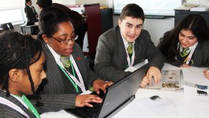 Reporters from Skinners Academy in London get stuck in!