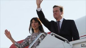 David and Samantha Cameron leave Washington for New York