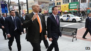 David Cameron visiting Newark, New Jersey, with the city's mayor Cory Booker