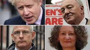Boris Johnson, Ken Livingstone, Brian Paddick and Jenny Jones