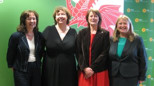 Plaid president Jill Evans, national chair Helen Mary Jones, leader Leanne Wood and chief executive Rhuanedd Richards
