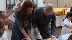 The Duchess of Cambridge and the Prince of Wales ironing