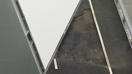 Surface missing on the Twin Sails Bridge in Poole