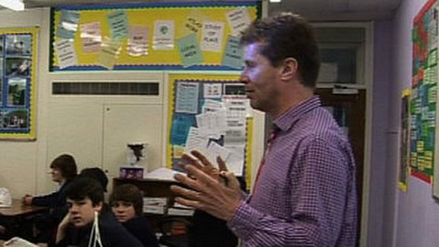 Radio 5 live presenter Nicky Campbell teaching at Poynton High School