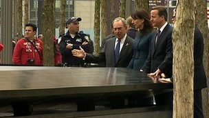 New York Mayor Bloomberg with David and Samantha Cameron at Ground Zero